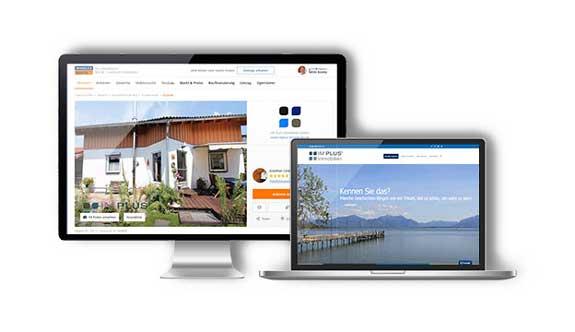 Computerbild mit der Website von Implus Immobilien